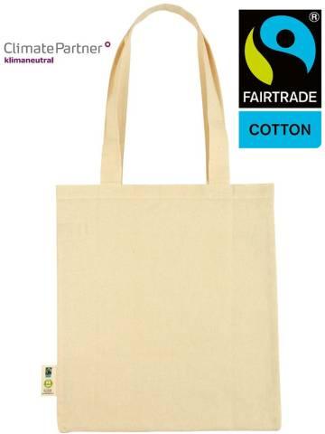 Bio Baumwolltasche Fairtrade klimaneutral lange Henkel 155g/m2
