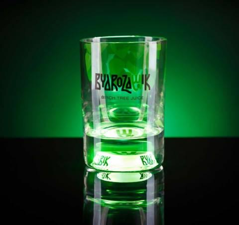 Trinkglas mit Licht Druck Gravur