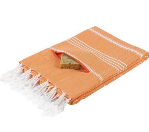 Hamamtuch mit Reißverschluß Tasche