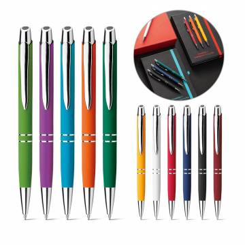 Werbeartikel Kugelschreiber Marieta Alu gummiert