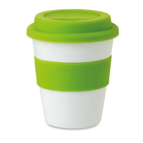 PP Becher mit Silikon-Deckel grün Astoria