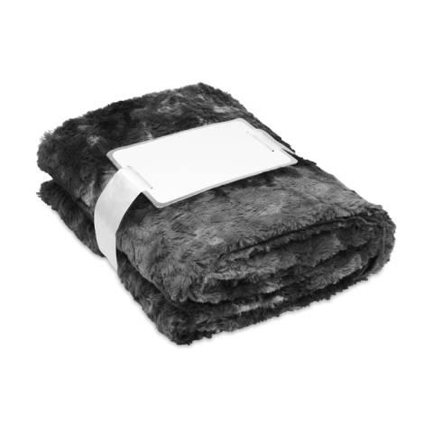 Kunstpelz-Decke schwarz ANDERMATT