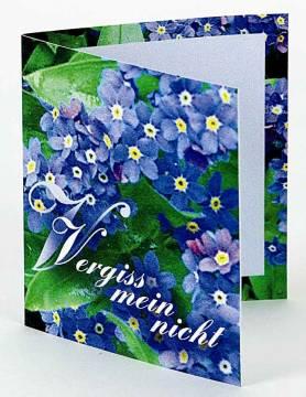 Klappkärtchen Vergiss-mein-nicht-Samen, 1-4 c Digitaldruck inklu