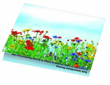 Klappkärtchen Blumenstrauß, 90 x 60 mm, Blumenmischung,  1-4 c D