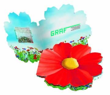 Kärtchen Blume, Klappkärtchen, bunte Blumenmischung, 1-4 c Digit