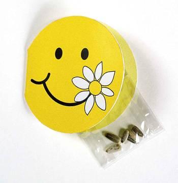 Klappkärtchen Smiley, Zwergsonnenblume, 1-4 c Digitaldruck inklu