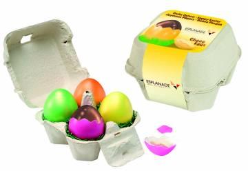 Ei-Box mit 4 Nougateier farblich sortiert in Natureischale, 1-4