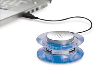 USB-Hub mit 3 Anschlüssen und Lautsprecher