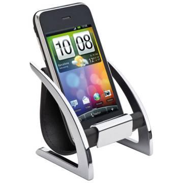 Handyhalter aus glänzend verchromten Metall und PU für Handy und
