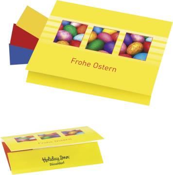 Klappkärtchen Eierfärberei 90x 60 mm, 3 Farben sortiert,  1-4 c