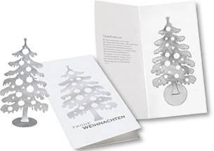 Weihnachtskarte Edelstahl-Weihnachtsbaum, 1-4 c Digitaldruck ink