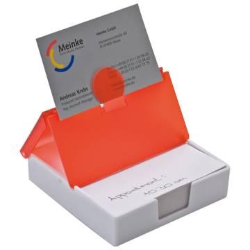 Kunststoffbox mit Notizzetteln und Visitenkartenhalter