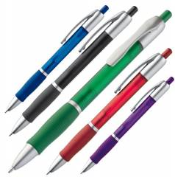 Gefrosteter Kugelschreiber aus Kunststoff mit gerillter Gummigri