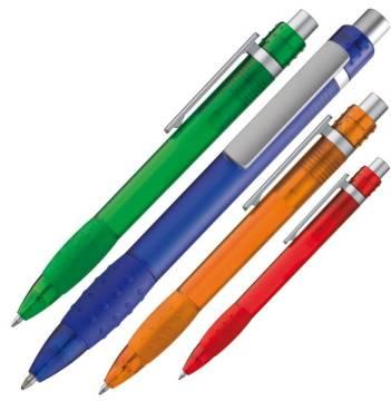 Kugelschreiber gefrostet mit breitem silbernen Clip