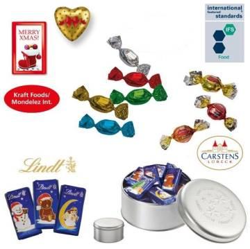 Präsentdose klein Weihnachten mit Alpenmilchschokoladen-Herzen