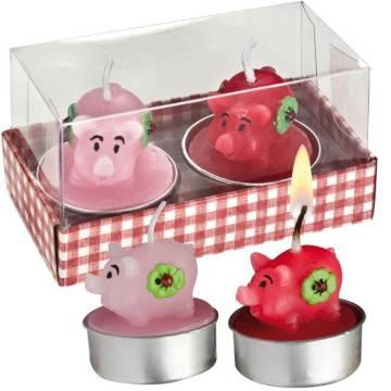 Kerzenset mit zwei Glücksschweinchen