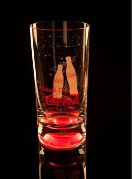 Werbeglas mit Licht