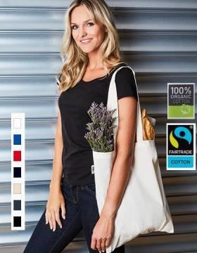 Bio Baumwolltasche Fairtrade lange Henkel 155g/m2 7 Farben