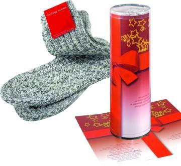 Mollig Socks in Geschenkrolle mit Grußkarte, 1-4 c Digitaldruck