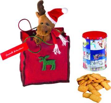 Weihnachtstäschchen, Dose 4051 + magn.Elch, 1-4 c Digitaldruck i