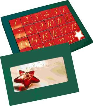 Adventskalender, ohne Inhalt, 1-4 c Digitaldruck auf Karte inklu