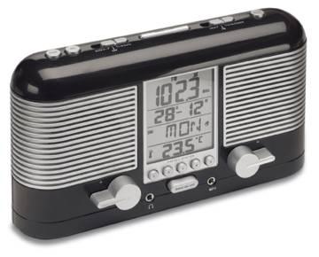 Radio controlled clock radio REFLECTS NIMBA BLACK