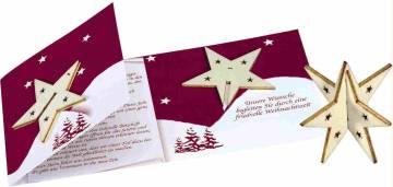 Sternen-Karte mit Steckholz-Stern, ohne Kuvert, 1-4 c Digitaldru
