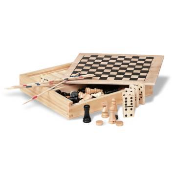 Spielesammlung in Holzbox holzfarben Trikes