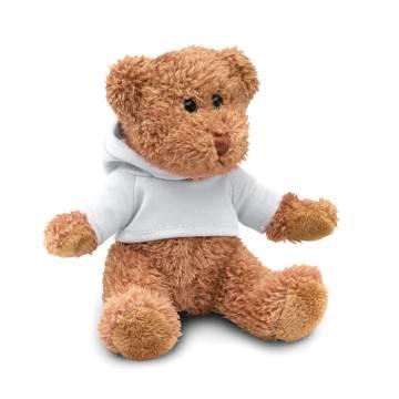 Teddybär mit Hoody weiß JOHNNY
