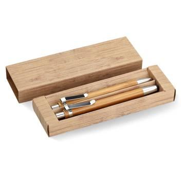 Schreibset aus Bambus holzfarben Bambooset
