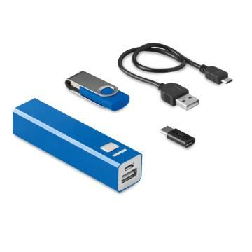 Set Powerbank/8GB USB-Stick blau Usb&Power
